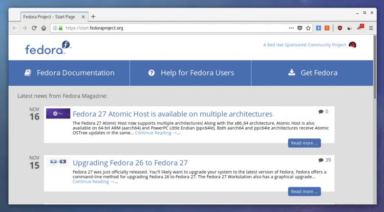 Firefox Nightly с функцией отрисовки на стороне клиента в Fedora