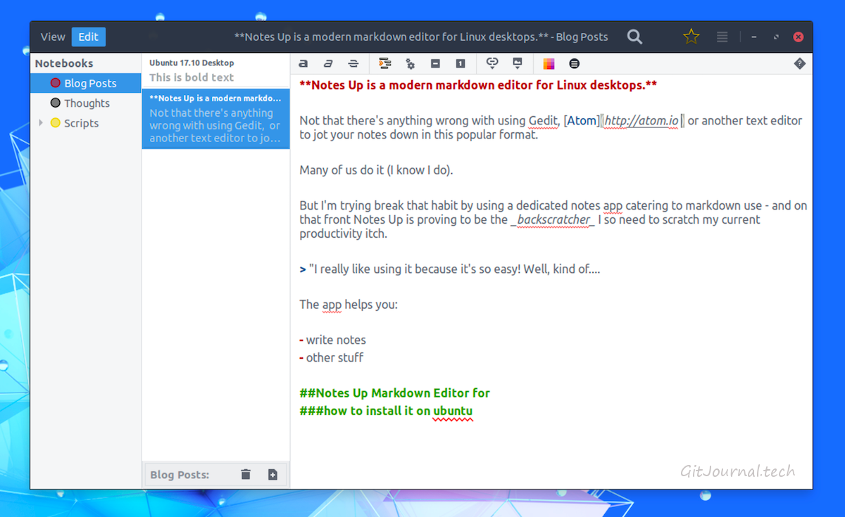 Notes Up - Markdown-редактор для Linux