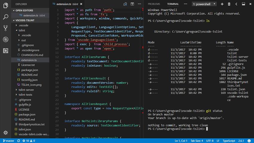 Вертикальные панели в Visual Studio Code 1.18