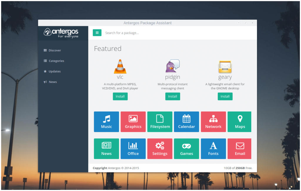 Линукс для использования дома Antergos