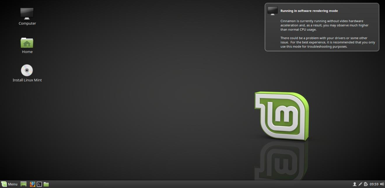 Linux Mint рабочий стол в Live режиме