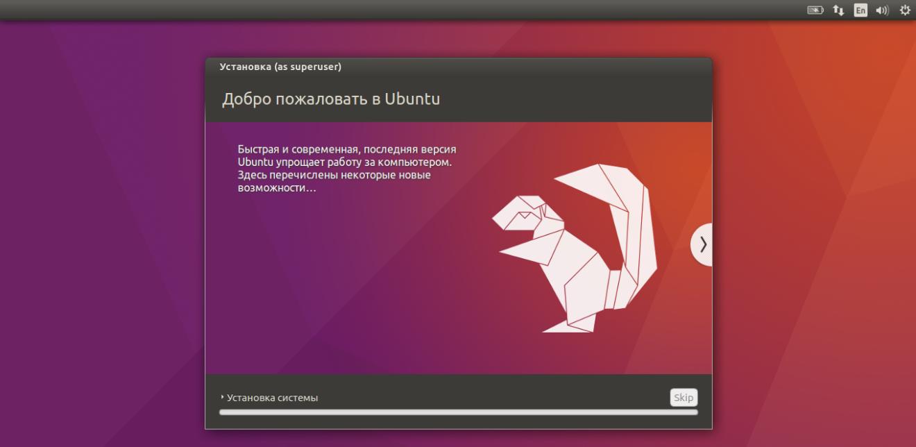 Итог установки Ubuntu 16.04
