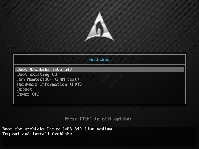 Установка ArchLabs Linux - экран приветствия