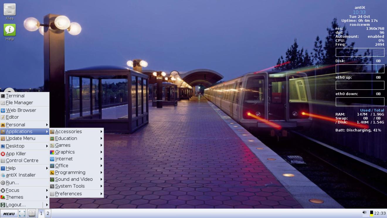 antiX лучший дистрибутив Linux для ноутбука