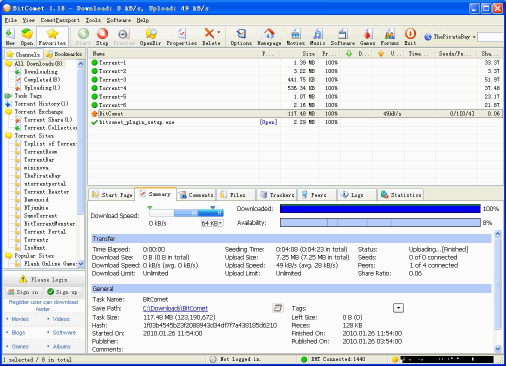 BitComet - утилита для загрузки файлов