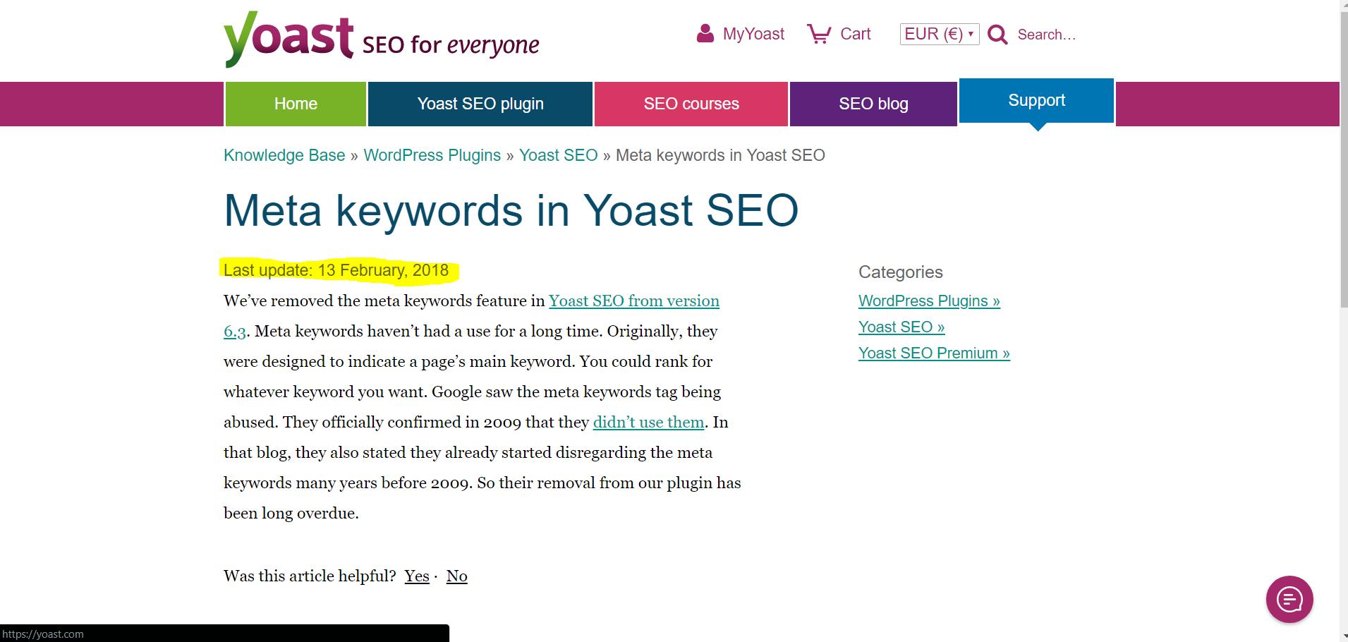 Разработчики Yoast SEO удалили keywords из плагина