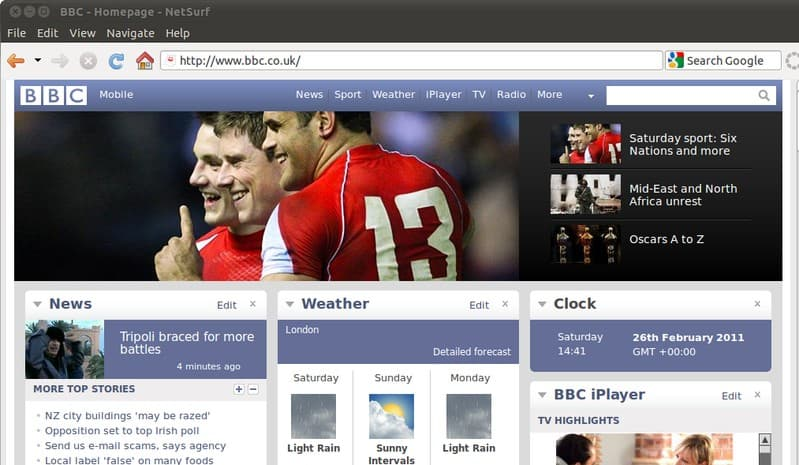 7 альтернатив Google Chrome - NetSurf Browser