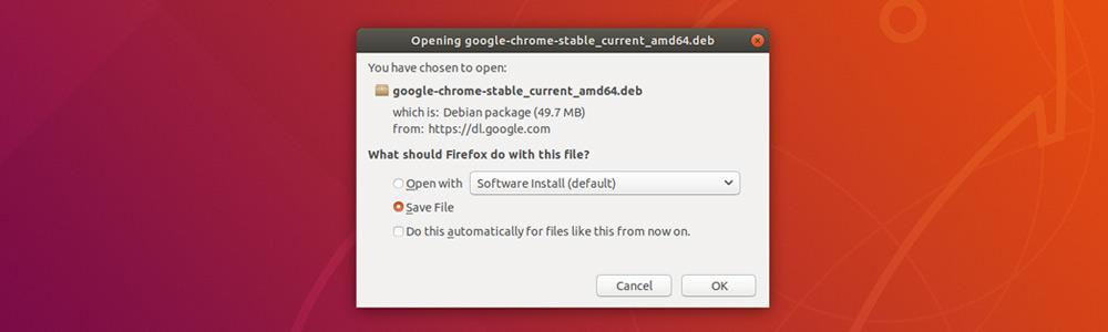 Сохранить установочный файл Google Chrome на Ubuntu